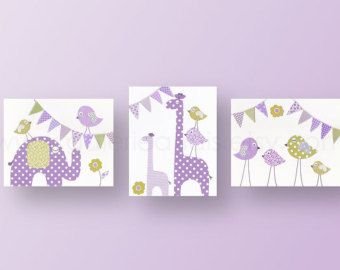 Vivero arte vivero decoración infantil pared arte pajarito niños arte Arte jirafa elefantito Set de 3 grabados - Party Animals