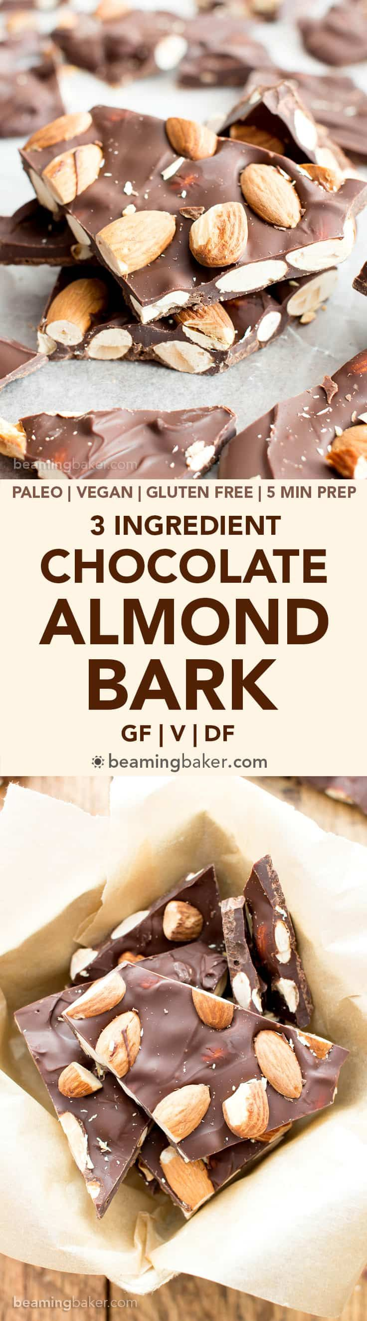 3 Ingredient Chocolate Almond Bark Recipe (V, GF): a fun recipe for thick pieces of indulgent chocolate bark perfectly packed with almonds. #Vegan #Paleo #GlutenFree #DairyFree #Dessert #Candy | Recipe on BeamingBaker.com
