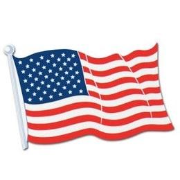 Decoratie USA Vlag cutout -  Een decoratie van de Amerikaanse vlag. Afmeting: 62.5cm. | www.feestartikelen.nl
