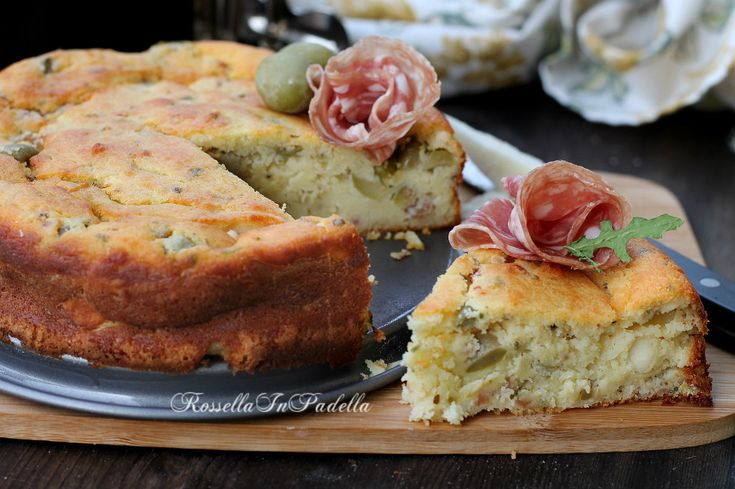 Cake salata con salame e olive
