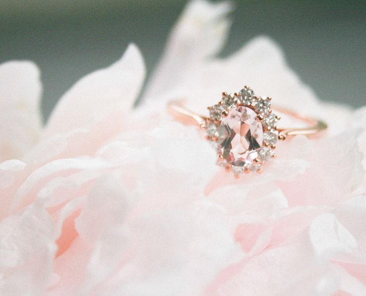 Rose Gold Morganite Ring, Oval Morganite, Diamond Halo Ring, Halo Engagement, Morganite Engagement, Rose Gold Ring, Rose Gold Morganite Ring by OliveAvenueJewelry on Etsy https://www.etsy.com/listing/258794371/rose-gold-morganite-ring-oval-morganite