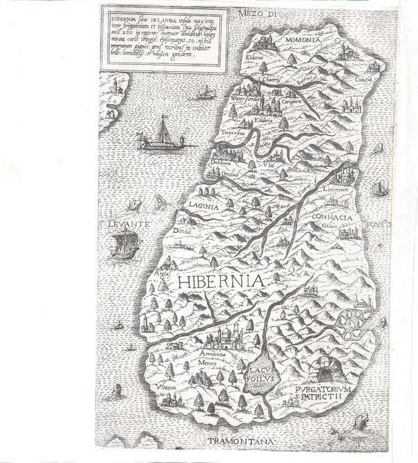 LOT:573 | Antonio LaFreri, fl.1540-1577, Rome Hibernia Sive Irlanda This exceptionally rare map of Ireland is attributed to Eduardo Bertelli and was first published in 1560. It is orientated south up. abl P.8 (ii) Engraving, 265 x 230mm sheet