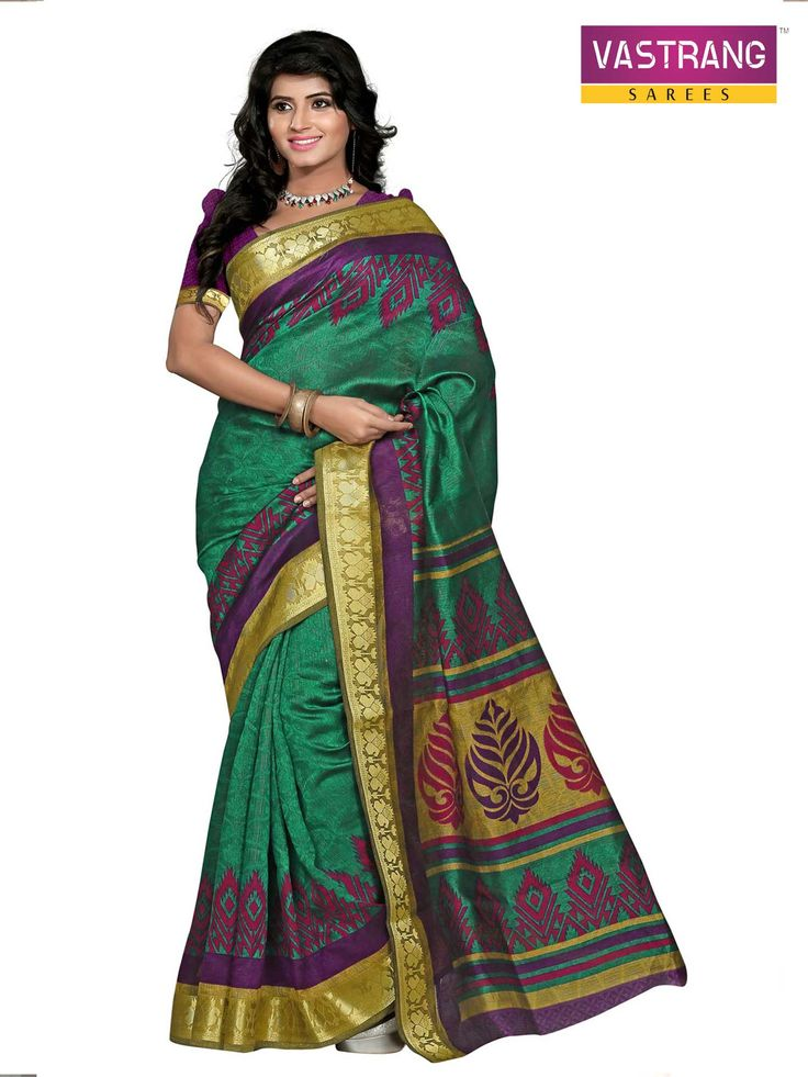 Silk Printed Bhagalpuri Srees With Beautifule Lace Border
