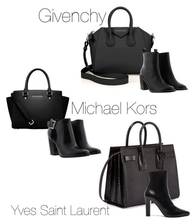 """Bag and Bootie in black"" by pinnulinen on Polyvore featuring Givenchy, MICHAEL Michael Kors, Michael Kors and Yves Saint Laurent"