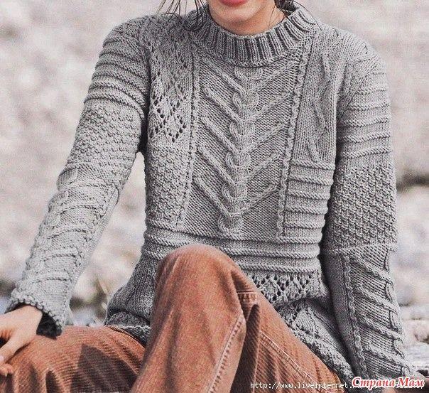 Вязаная история № 38 Пуловер Rustique из журнала Tricots Creatifs № 12, 2011
