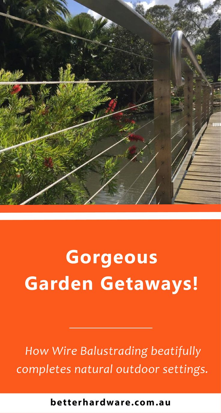 The beautiful Australian Red Bottle Brush playfully interacts with Steel Wire Balustrades, helping create this Garden Getaway. For more ideas and materials in decking and fencing, check out the Better Hardware website.