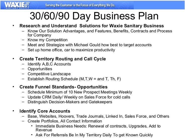 example of the business plan for 30/60/90 days