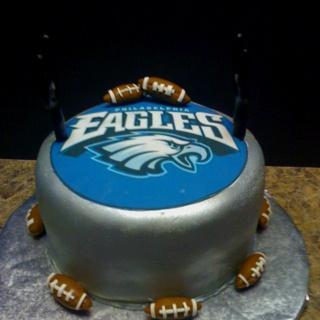 Happy Birthday Cake With Logo Of Football Team Eagles