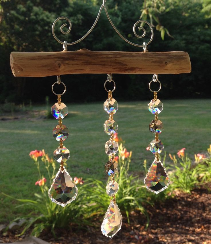 3 Strand Crystal Suncatcher with smoky topaz accents