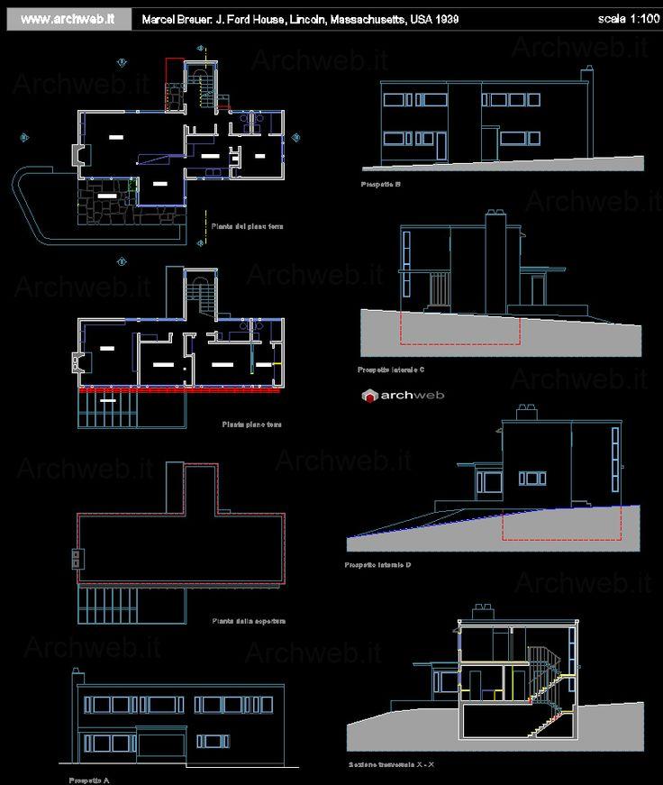 James Ford House, Lincoln MA (1939) | Marcel Breuer, Walter Gropius | Archweb Autocad
