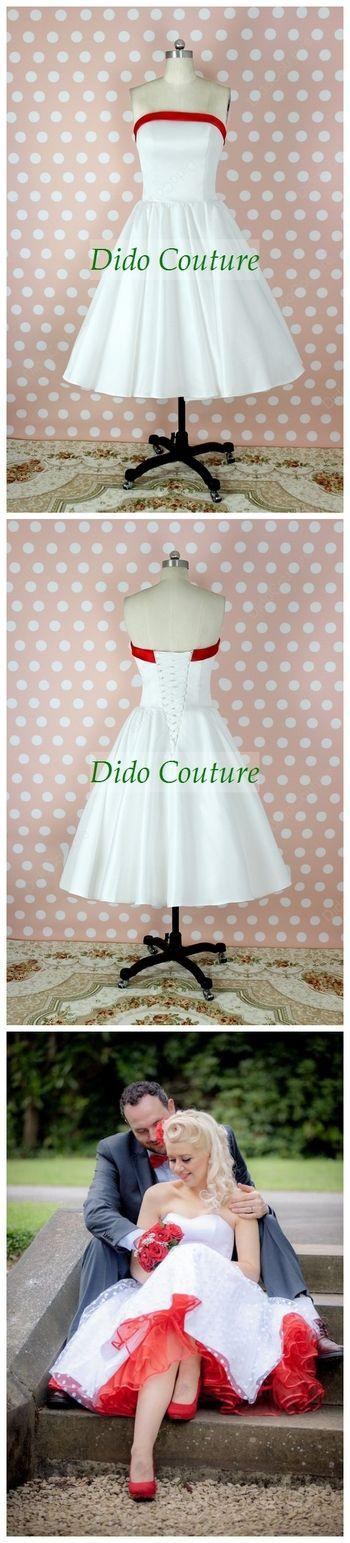 Strapless Tea Length Full Circle 50s Style Rockabilly Wedding Dress