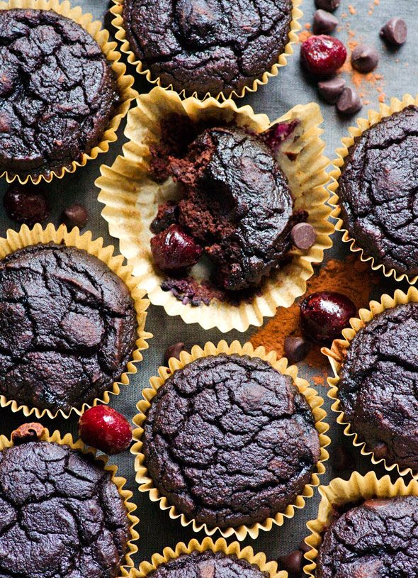 Cherry & Chocolate Coconut Flour Muffins - Moist, gluten and refined sugar free, healthy and tasty muffins recipe with fresh or frozen cherries. | ifoodreal.com