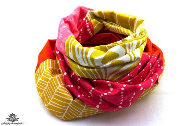 Rundschal / Schal gelb pink orange - Gute Laune einfach anziehen ;)