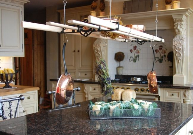 Hanging pot pan racks hang your kitchen bit and pieces for Overhead pots and pans rack