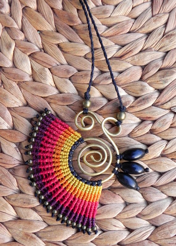 Hey, I found this really awesome Etsy listing at https://www.etsy.com/listing/252112616/colourful-macrame-necklace-with-brass