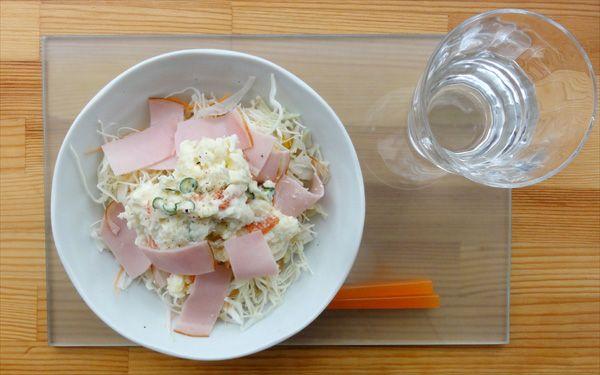 今日の200円ランチは簡単に時間をかけずにポテトサラダにしました(^v^)