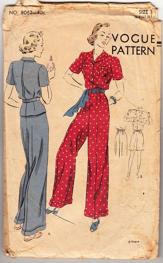 Vintage Sewing Pattern 1930s Ladies' Blouse Trousers Shorts and Pajamas Vogue 8062.