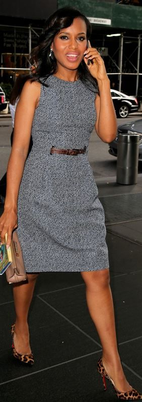 Gray tweed dress, leopard pumps