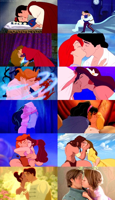 Disney kisses, because yes, I am a sappy romantic when it comes to Disney. But real life? Pleh...