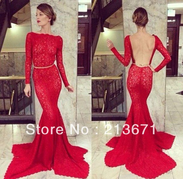 Charming Elegant Sexy Lace Backless Mermaid Evening dresses New Fashion 2014 Red Appliques Long Prom Dresses Free Shipping-in Prom Dresses from Apparel & Accessories on Aliexpress.com