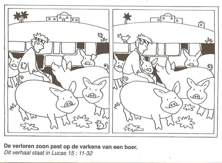 de verloren zoon past op de varkens van een boer zoek de 10 verschillen gelijkenis