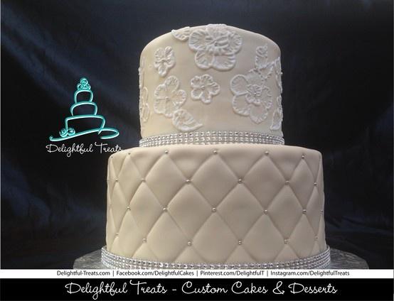 Two Tier Custom Ivory Wedding Cake with Royal Icing, Brush Embroidery & Quilting by Delightful Treats | #Two #Tier #Custom #Ivory #Wedding #Cake #Royal #Icing #Brush #Embroidery #Quilting #DelightfulTreats #WeddingCake #RoyalIcing #BrushEmbroidery #CakeQuilting #Fondant #ButterCream #CustomWeddingCake #OrlandoWedding