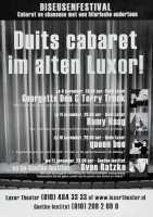 Aankondiging van het Diseusenfestival, Duitse cabaretvoorstellingen door Georgette Dee & Terry Truck en anderen in het oude Luxor Theater en in het Goethe Institut.  Datering:4/11/2001