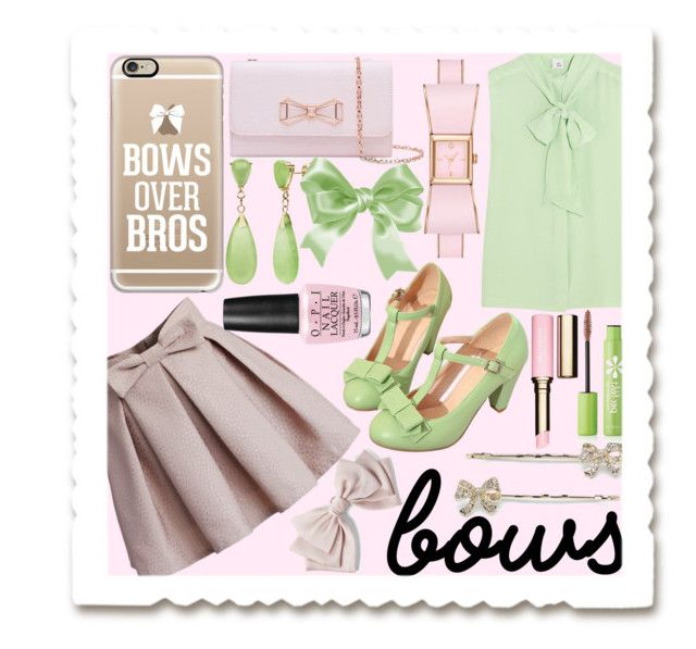 """Bows"" by lycanthrope-misanthrope ❤ liked on Polyvore featuring Iris & Ink, Chicwish, Casetify, LC Lauren Conrad, Kate Spade, Ted Baker, Cara, Per-fékt Beauty, Clarins and OPI"