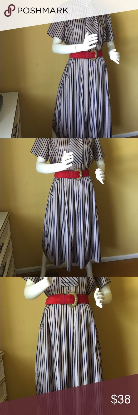 "Vintage Serbin taupe and navy striped dress Vintage Serbin taupe and navy striped dress. Length 48.5"", waist 32"", bust 42"". Fabric is most likely polyester. Small pull in the fabric by the last button. See final picture. Barely visible. Price will reflect this flaw. Belt not included. Vintage Dresses"