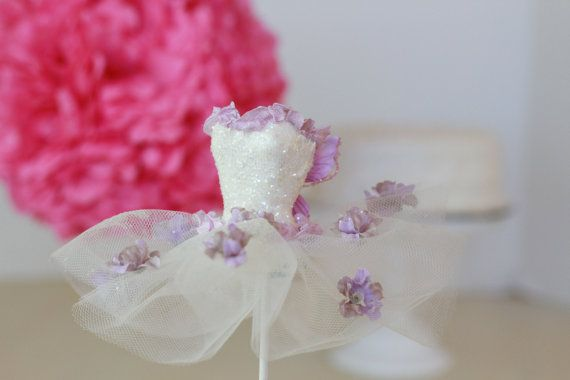 Paper Mache Ballerina Tutu, purple fairy, fairy party decor, Baby shower, princess party,  Ballerina  Party, cake topper, wand