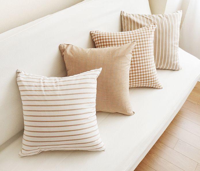 [바보사랑] 따뜻한 느낌의 홈쿠션 /쿠션/홈스타일링/거실/소파/패브릭/체크/스트라이프/데코/인테리어/Cushion/Interior/Living room/sofa/Fabric/Check/Stripe/decor