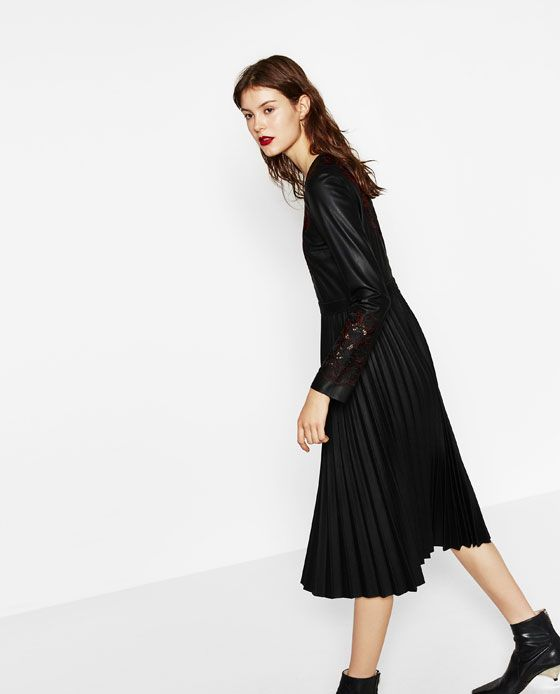 Image 1 of EMBROIDERED DRESS WITH PLEATED SKIRT from Zara