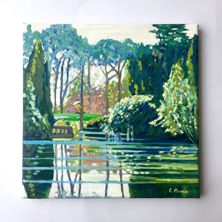 Emerboweart.  Buy it now on my etsy > https://www.etsy.com/ie/people/emerbowe?ref=hdr_user_menu Altamont lake. Reflections of greenery against the lake.  #Tree #Wildlife #oiloncanvas #canvas #painting #Art #Impressionist #green #Ireland #irishartist #Irish