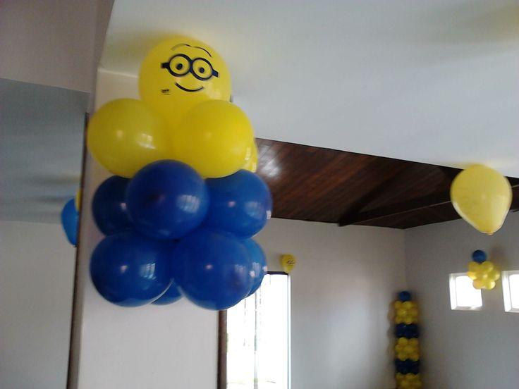 decoracao festa minions : decoracao festa minions:Decoração com balão dos Minions