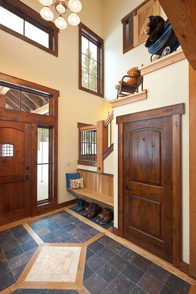 Georgetown Lake Retreat | Dovetail Construction - awesome combo of woods & tile
