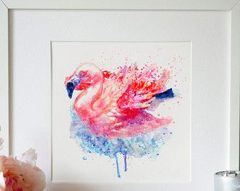 Flamingo op het Water Wall art aquarel schilderij vogel kunst Flamingo Wildlife decor afdrukbare kunst Flamingo poster vogels Aquarelle kamer decor