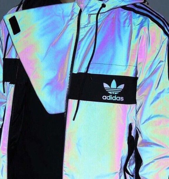 jacket adidas windbreaker coat adidas holographic windbreaker iridescent adidas jacket holographic jacket sportswear three stripes brands sportswear
