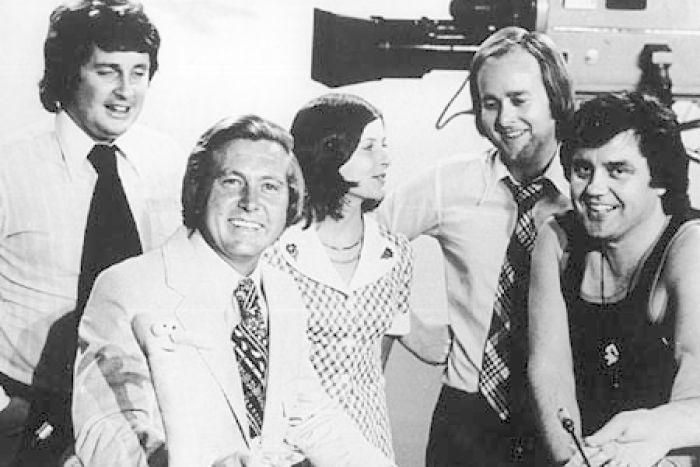Australia   This Day Tonight team, (L to R) Paul Murphy, Bill Peach, June Heffernan, Tony Joyce and Peter Luck, 1974