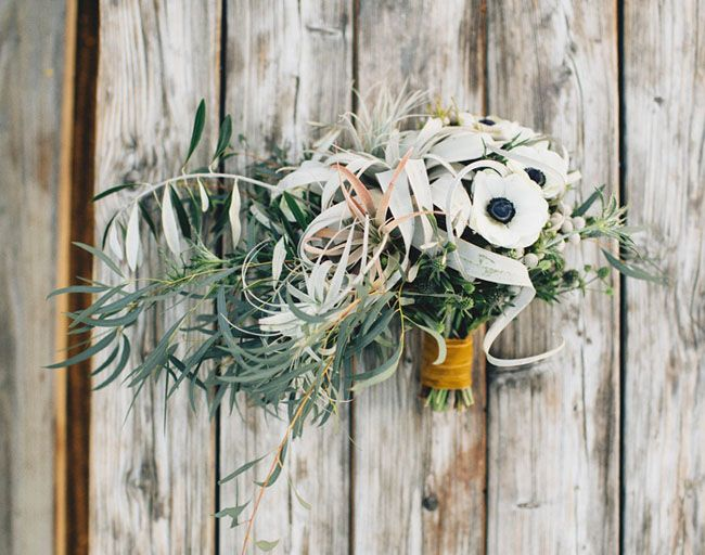 bridal- greens, anemones and airplants but in a more overall organic shape
