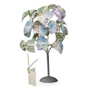 Money Tree - Turns cash into an eye-catching gift! (Product Number HC5660) $9.98 CAD http://davesgift.shopregal.ca/PWS/Products/ProductDetails.aspx?prodid=11121&cid=12025&pid=120