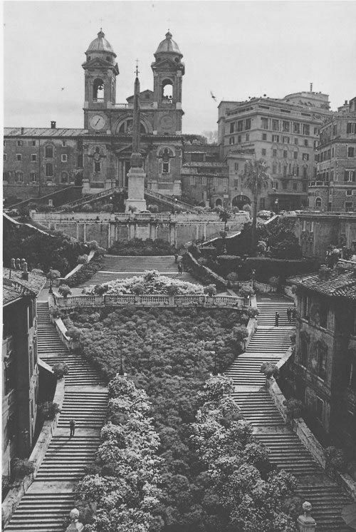 Historic Photo Of The Spanish Steps, Decorated With Azaleas.