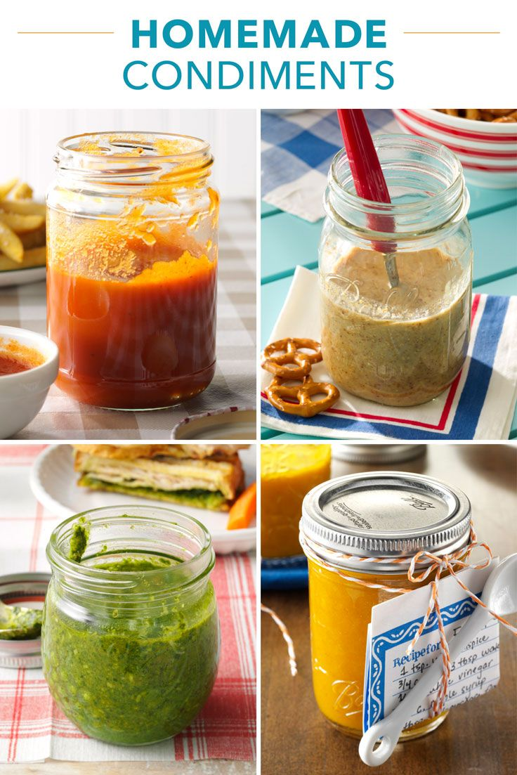 25 Homemade Condiment Recipes from Taste of Home |  Skip the store-bought bottles and jars and start from scratch! Make your own versions of these popular burger and sandwich toppings, spreads and sauces, including recipes for ketchup, mustard, mayonnaise, BBQ sauce, pickles, relish, tartar sauce and more condiments.