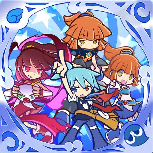 A self made Puyo Puyo/ぷよぷよ icon featuring Sig with Arle, Doppelganger Arle and Dark Arle.