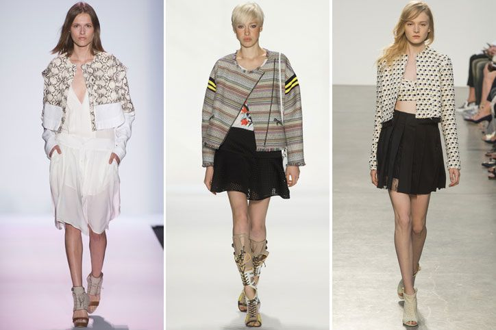 New York Fashion Week predicts... The boxy crop jacket... not necessarily a moto-jacket... ditch the leather or denim for an unconventional twist. Think fun prints, lighter weight fabrics. Total Wardrobe Staple