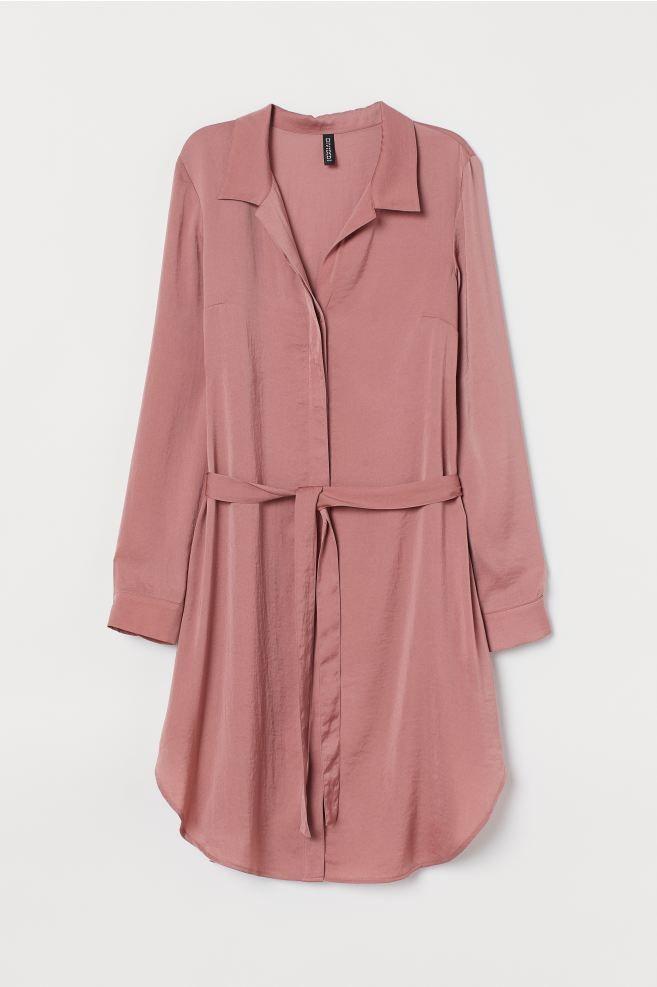 Kurzes Blusenkleid Altrosa H M De In 2020 Kleid Altrosa Oberhemden Blusenkleid