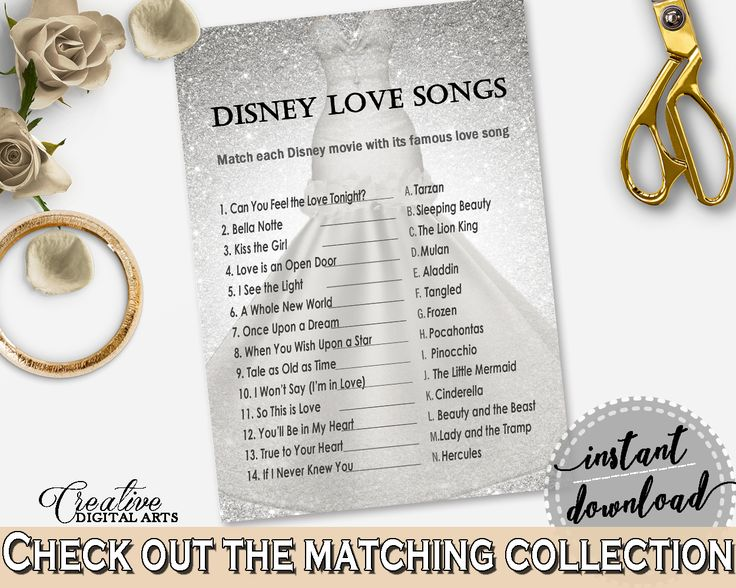 Silver Wedding Dress Bridal Shower Disney Love Songs Game in Silver And White, bridal quiz, stylish bridal theme, shower activity - C0CS5 #bridalshower #bride-to-be #bridetobe