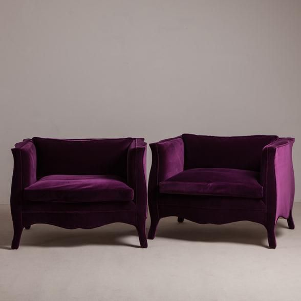 Talisman A Pair of Velvet French Style Armchairs by Talisman. (also, perhaps in hot pink or turquoise!)