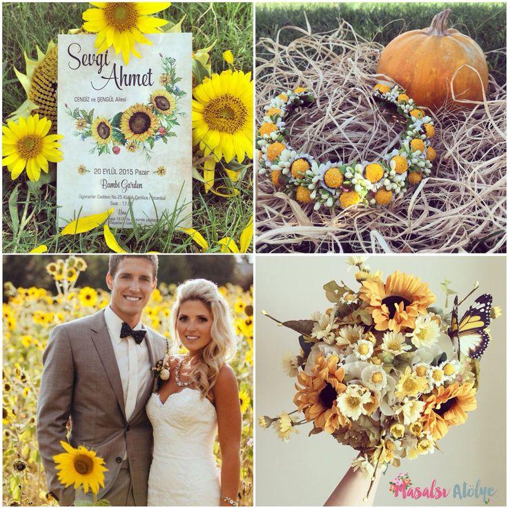 Ayçiçeği düğün teması / sunflower wedding theme www.masalsiatolye.com #masalsiatolye #dugunteması #weddingtheme #aycicegi #sunflower