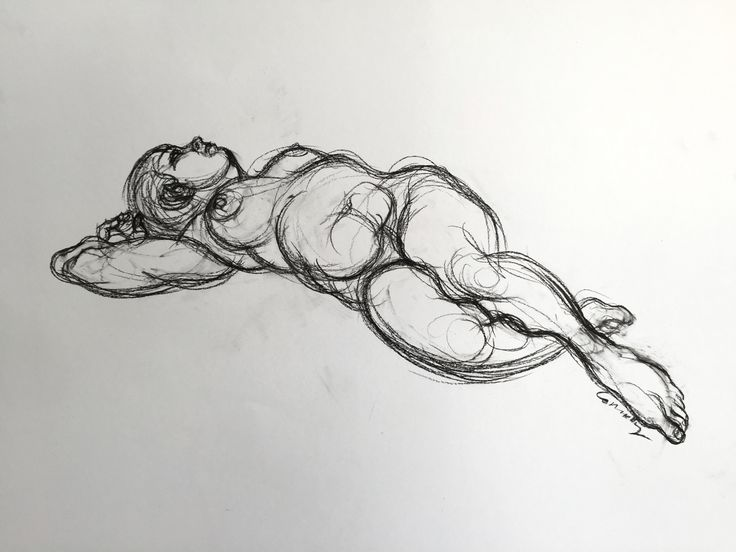 Reclining Female Looking Up, by Mick Connolly. Charcoal on paper, 59cm x 84cm (unframed)  From N U D E W E R K S at Atelier451 (April 24 - May 15, 2016)