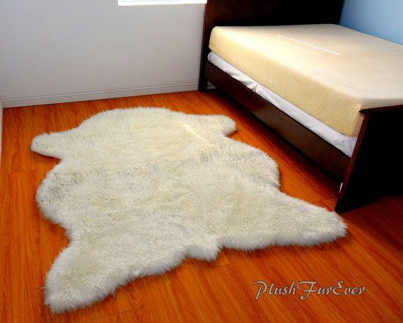 Luxury Faux Fur Rug 5 X 6 Light Black Tip Polar Bear Super Plush Fur Rug  New Polar Bear Shape Cute Luxurious Top Fur Best Quality New